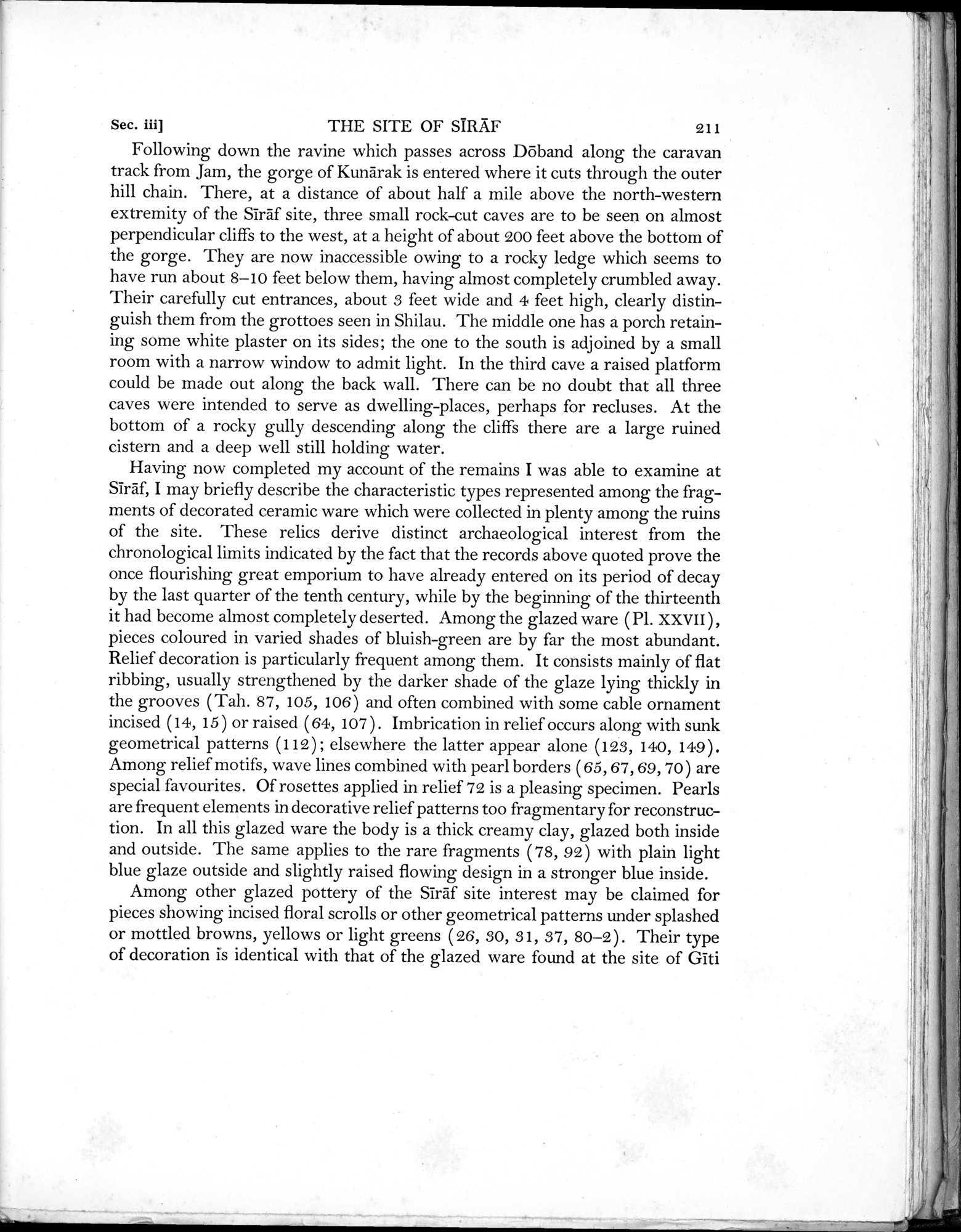 Archaeological Reconnaissances in North-Western India and South-Eastern Īrān : vol.1 / Page 287 (Grayscale High Resolution Image)